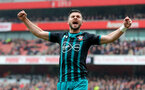 LONDON, ENGLAND - APRIL 08: Shane Long of Southampton celebrates during the Premier League match between Arsenal and Southampton at Emirates Stadium on April 8, 2018 in London, England. (Photo by Matt Watson/Southampton FC via Getty Images)