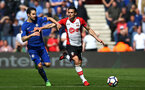 SOUTHAMPTON, ENGLAND - APRIL 14: Dusan Tadic (right) during the Premier League match between Southampton and Chelsea at St Mary's Stadium on April 14, 2018 in Southampton, England. (Photo by Chris Moorhouse/Southampton FC via Getty Images)