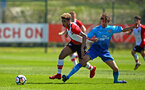 SOUTHAMPTON, ENGLAND - APRIL 18: Enzo Robise (left) during the U18 Premier League match between Southampton FC and Arsenal FC at Staplewood Complex on April 17, 2018 in Southampton, England. (Photo by James Bridle - Southampton FC/Southampton FC via Getty Images)