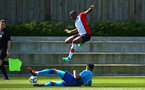 SOUTHAMPTON, ENGLAND - APRIL 18: Michael Obafemi (middle) during the U18 Premier League match between Southampton FC and Arsenal FC at Staplewood Complex on April 17, 2018 in Southampton, England. (Photo by James Bridle - Southampton FC/Southampton FC via Getty Images)