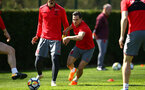 SOUTHAMPTON, ENGLAND - APRIL 18: Cedric (Middle) during a Southampton FC Training session at Staplewood Complex on April 17, 2018 in Southampton, England. (Photo by James Bridle - Southampton FC/Southampton FC via Getty Images)