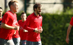 SOUTHAMPTON, ENGLAND - APRIL 18: Manolo Gabbiadini (middle) during a Southampton FC Training session at Staplewood Complex on April 17, 2018 in Southampton, England. (Photo by James Bridle - Southampton FC/Southampton FC via Getty Images)