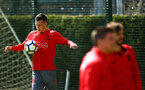 SOUTHAMPTON, ENGLAND - APRIL 18:Pierre-Emile H¿jbjerg  (Left) during a Southampton FC Training session at Staplewood Complex on April 17, 2018 in Southampton, England. (Photo by James Bridle - Southampton FC/Southampton FC via Getty Images) SOUTHAMPTON, ENGLAND - APRIL 18:Pierre-Emile Højbjerg  (Left) during a Southampton FC Training session at Staplewood Complex on April 17, 2018 in Southampton, England. (Photo by James Bridle - Southampton FC/Southampton FC via Getty Images)
