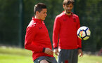 SOUTHAMPTON, ENGLAND - APRIL 18: Guido Carrillo (middle) during a Southampton FC Training session at Staplewood Complex on April 17, 2018 in Southampton, England. (Photo by James Bridle - Southampton FC/Southampton FC via Getty Images)