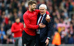 SOUTHAMPTON, ENGLAND - APRIL 28: LtoR Jack Stephens, Mark Hughes celebrate after the final whistle is blown during the Premier League match between Southampton and AFC Bournemouth at St Mary's Stadium on April 28, 2018 in Southampton, England. (Photo by James Bridle - Southampton FC/Southampton FC via Getty Images)