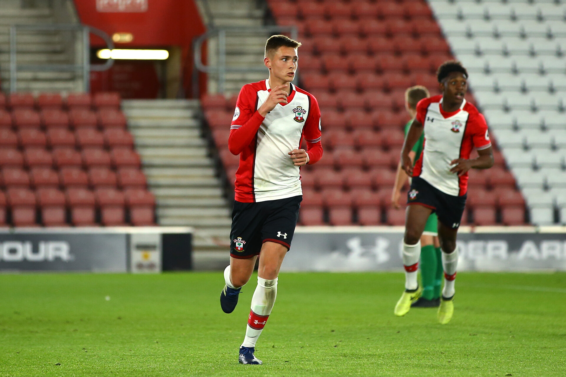 SOUTHAMPTON, ENGLAND - MAY 02: Will Smallbone (middle) scores during the Southampton FC Senior Cup on May 02, 2018 in Southampton, England. (Photo by James Bridle - Southampton FC/Southampton FC via Getty Images)