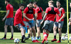 SOUTHAMPTON, ENGLAND - MAY 07: Charlie Austin(centre) during a Southampton FC training session at the Staplewood Campus on May 7, 2018 in Southampton, England. (Photo by Matt Watson/Southampton FC via Getty Images)