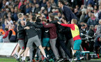 SWANSEA, WALES - MAY 08: players and staff of Southampton celebrate during the Premier League match between Swansea City and Southampton at Liberty Stadium on May 8, 2018 in Swansea, Wales. (Photo by Matt Watson/Southampton FC via Getty Images)