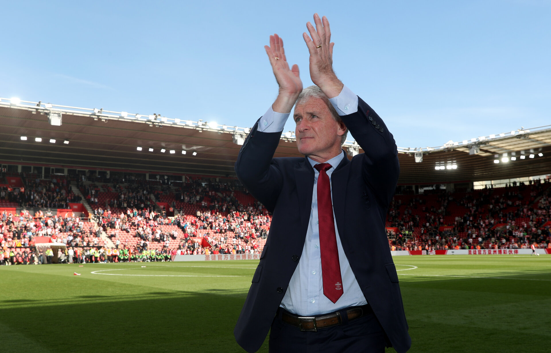 SOUTHAMPTON, ENGLAND - MAY 13: Mark Hughes of Southampton after the Premier League match between Southampton and Manchester City at St Mary's Stadium on May 13, 2018 in Southampton, England. (Photo by Matt Watson/Southampton FC via Getty Images)