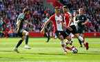 SOUTHAMPTON, ENGLAND - MAY 13: LtoR Dusan Tadic, Shane Long of Southampton FC during the Premier League match between Southampton and Manchester City at St Mary's Stadium on May 13, 2018 in Southampton, England. (Photo by James Bridle - Southampton FC/Southampton FC via Getty Images)