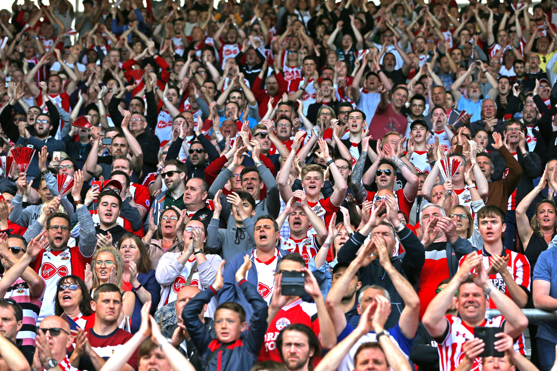 SOUTHAMPTON, ENGLAND - MAY 13: Southampton FC  fans during the Premier League match between Southampton and Manchester City at St Mary's Stadium on May 13, 2018 in Southampton, England. (Photo by James Bridle - Southampton FC/Southampton FC via Getty Images)