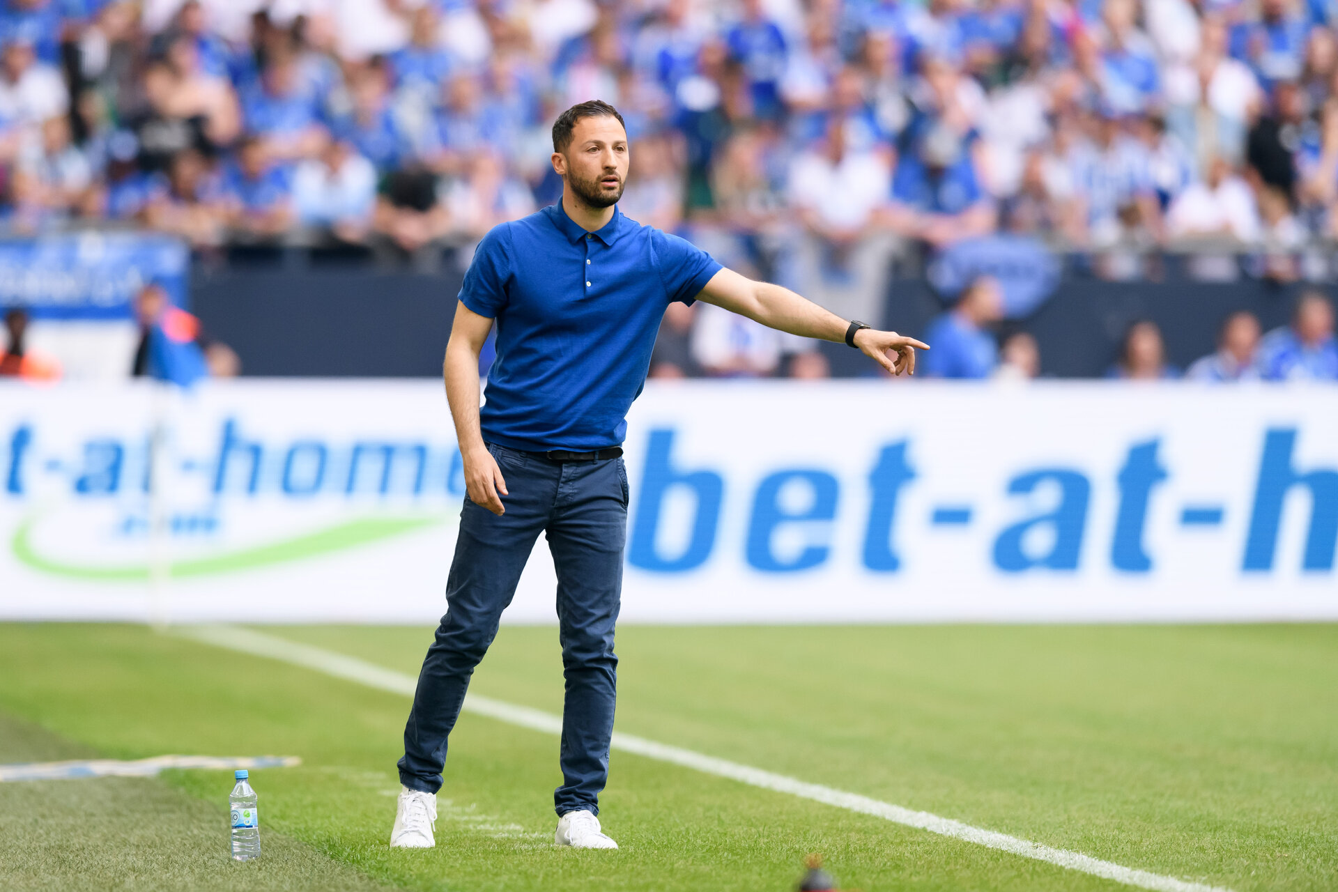 GELSENKIRCHEN, GERMANY - May 12: Head coach Domenico Tedesco of Schalke gestures during the Bundesliga match between FC Schalke 04 and Eintracht Frankfurt at Veltins Arena on May 12, 2018 in Gelsenkirchen, Germany. (Photo by TF-Images/Getty Images)