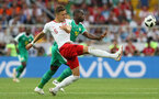 MOSCOW, RUSSIA - JUNE 19:  Jan Bednarek of Poland challenge for the ball with Moussa Konate of Senegal during the 2018 FIFA World Cup Russia group H match between Poland and Senegal at Spartak Stadium on June 19, 2018 in Moscow, Russia.  (Photo by Kevin C. Cox/Getty Images)