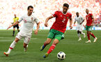MOSCOW, RUSSIA - JUNE 20:  Cedric of Portugal is challenged by Achraf Hakimi  of Morocco during the 2018 FIFA World Cup Russia group B match between Portugal and Morocco at Luzhniki Stadium on June 20, 2018 in Moscow, Russia.  (Photo by Stu Forster/Getty Images)
