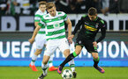 MOENCHENGLADBACH, GERMANY - NOVEMBER 01: Stuart Armstrong of Celtic (L) and Thorgan Hazard of Borussia Moenchengladbach (R) battle for possession during the UEFA Champions League Group C match between VfL Borussia Moenchengladbach and Celtic at Borussia-Park on November 1, 2016 in Moenchengladbach, Germany.  (Photo by Simon Hofmann/Bongarts/Getty Images)