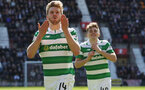 EDINBURGH, SCOTLAND - APRIL 02:  Stuart Armstrong of Celtic celebrates scoring his sides third goal during the Ladbrokes Scottish Premiership match between Hearts and Celtic at Tynecastle Stadium on April 2, 2017 in Edinburgh, Scotland.  (Photo by Ian MacNicol/Getty Images)