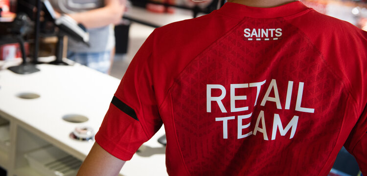 SOUTHAMPTON, ENGLAND - JUNE 29:  Southampton FC launch their new 2018/19 Home and training kit to the public on June 29, 2018 at St Mary's Stadium Mega Store in Southampton, England. (Photo by James Bridle - Southampton FC/Southampton FC via Getty Images)