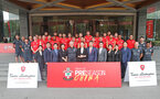 Team photo with Conino Lamborghini staff during the first training session of Southampton FC's pre-season tour of China, at the Kunshan training facility, Kunshan, Shanghai, China, 2nd July 2018