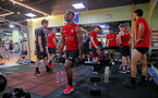 Mario Lemina during a gym session of Southampton FC's pre-season tour of China, at the Kunshan training facility, Kunshan, Shanghai, China, 2nd July 2018