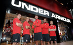 SHANGHAI, CHINA - JULY 06: Southampton FC players L to R, Pierre-Emile Hojbjerg, Oriol Romeu, Fraser Forster, Sam McQueen and Josh Sims visit the Under Armour store while on their pre season tour of China, on July 6, 2018 in Shanghai, China. (Photo by Matt Watson/Southampton FC via Getty Images)