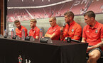 SHANGHAI, CHINA - JULY 06: Southampton FC players L to R, Sam McQueen, Josh Sims, Oriol Romeu, Fraser Forster and Pierre-Emile Hojbjerg visit the Under Armour store while on their pre season tour of China, on July 6, 2018 in Shanghai, China. (Photo by Matt Watson/Southampton FC via Getty Images)