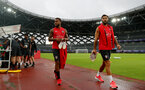 SHANGHAI, CHINA - JULY 09: Ryan Bertrand(L) and Charlie Austin during a Southampton FC training session, while on their pre season tour of China, on July 9, 2018 in Xuzhou, China. (Photo by Matt Watson/Southampton FC via Getty Images)