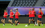 SHANGHAI, CHINA - JULY 09: Players run during a Southampton FC training session, while on their pre season tour of China, on July 9, 2018 in Xuzhou, China. (Photo by Matt Watson/Southampton FC via Getty Images)