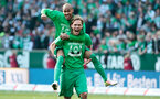 BREMEN, GERMANY - MAY 14:  Jannik Vestergaard and Theodor Gebre Selassie of Bremen celebrates after the Bundesliga match  SV Werder Bremen and Eintracht Frankfurt at Weserstadion on May 14, 2016 in Bremen, Germany.  (Photo by Oliver Hardt/Bongarts/Getty Images)