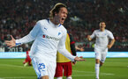 KAISERSLAUTERN, GERMANY - MAY 27:  Jannik Vestergaard of Hoffenheim celebrates his team's second goal during the Bundesliga Playoff Second Leg match between 1. FC Kaiserslautern and 1899 Hoffenheim at Fritz-Walter-Stadion on May 27, 2013 in Kaiserslautern, Germany.  (Photo by Simon Hofmann/Bongarts/Getty Images)