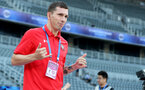 XUZHOU, CHINA - JULY 11: Pierre-Emile Hojbjerg ahead of the 2018 Club Super Cup pre-season match between Southampton FC and Jiangsu suning FC, on July 11, 2018 in Xuzhou, China. (Photo by Matt Watson/Southampton FC via Getty Images)