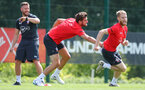 SOUTHAMPTON, ENGLAND - JULY 16: Jack Stephens(L) and Josh Sims during a Southampton FC training session at the Staplewood Campus on July 16, 2018 in Southampton, England. (Photo by Matt Watson/Southampton FC via Getty Images)