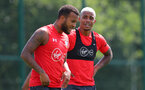 SOUTHAMPTON, ENGLAND - JULY 16: Ryan Bertrand(L) and Mario Lemina during a Southampton FC training session at the Staplewood Campus on July 16, 2018 in Southampton, England. (Photo by Matt Watson/Southampton FC via Getty Images)