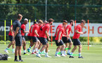 SOUTHAMPTON, ENGLAND - JULY 16: Players warm up during a Southampton FC training session at the Staplewood Campus on July 16, 2018 in Southampton, England. (Photo by Matt Watson/Southampton FC via Getty Images)