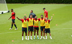 SOUTHAMPTON, ENGLAND - JULY 17: LtoR Ryan Bertrand, Jack Stephens, Nathan Redmond, Charlie Austin, Harrison Reed, Tournament winners during a Southampton FC training session at Staplewood Complex on July 17, 2018 in Southampton, England. (Photo by James Bridle - Southampton FC/Southampton FC via Getty Images)