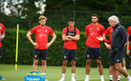 SOUTHAMPTON, ENGLAND - JULY 17: LtoR Stuart Armstrong, Mohamed Elyounoussi, Wesley Hoedt during a Southampton FC training session at Staplewood Complex on July 17, 2018 in Southampton, England. (Photo by James Bridle - Southampton FC/Southampton FC via Getty Images)