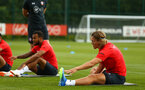 SOUTHAMPTON, ENGLAND - JULY 18: Jannik Vestergaard (right) during a Southampton FC training session at Staplewood Complex on July 18, 2018 in Southampton, England. (Photo by James Bridle - Southampton FC/Southampton FC via Getty Images)