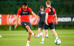 SOUTHAMPTON, ENGLAND - JULY 18: Mohamed Elyounoussi (left) during a Southampton FC training session at Staplewood Complex on July 18, 2018 in Southampton, England. (Photo by James Bridle - Southampton FC/Southampton FC via Getty Images)