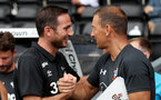 DERBY, ENGLAND - JULY 21: Derby manager Frank Lampard(L) and Eddie Niedzwiecki(R) of Southampton during the pre-season friendly match between Derby County and Southampton at Pride Park on July 21, 2018 in Derby, England. (Photo by Matt Watson/Southampton FC via Getty Images)