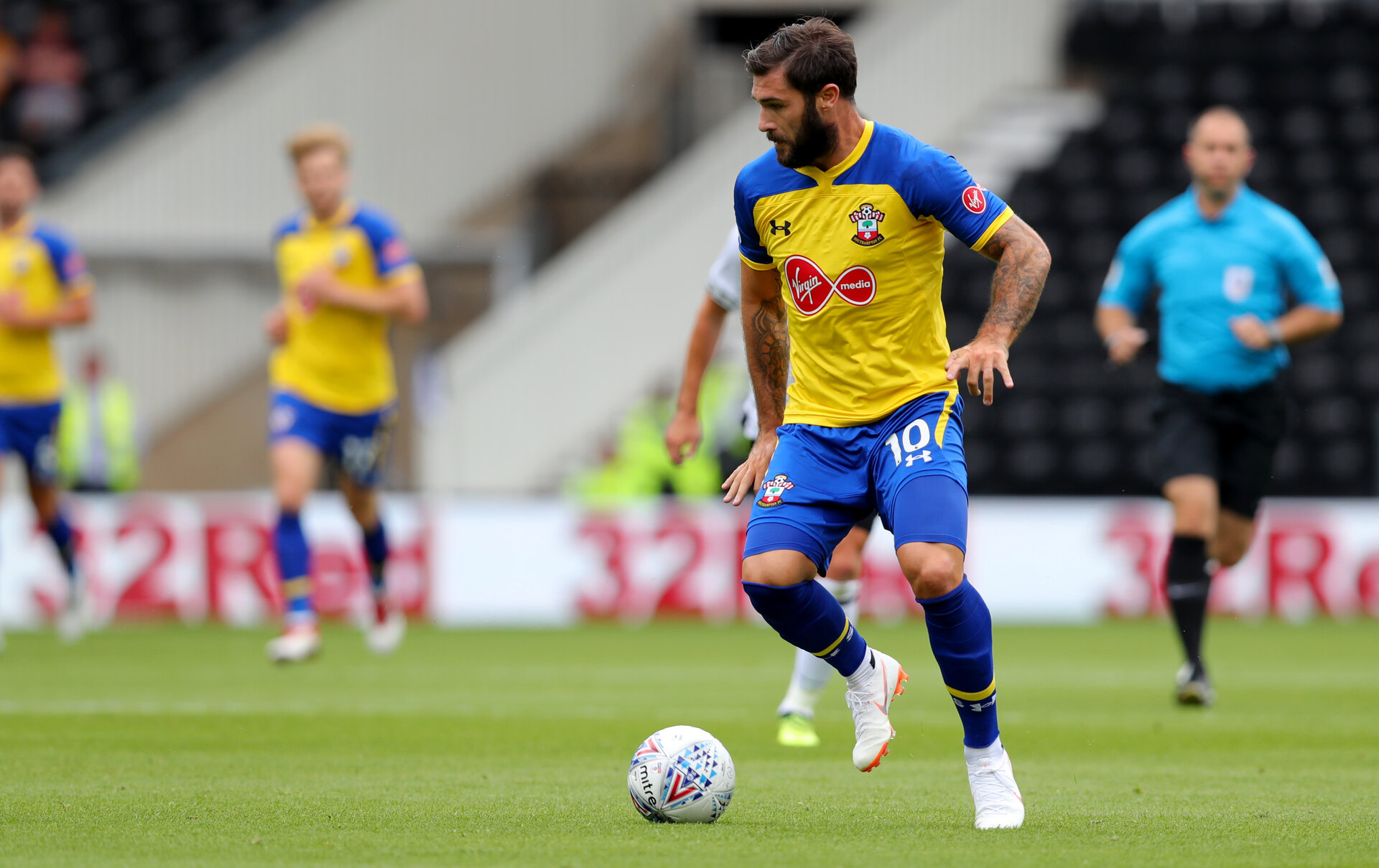 DERBY, ENGLAND - JULY 21: Charlie Austin of Southampton during the pre-season friendly match between Derby County and Southampton at Pride Park on July 21, 2018 in Derby, England. (Photo by Matt Watson/Southampton FC via Getty Images)