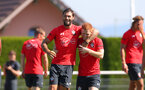 EVIAN-LES-BAINS, FRANCE - JULY 27: Charlie Austin(L) and Harrison Reed during Southampton FC's pre season training camp, on July 27, 2018 in Evian-les-Bains, France. (Photo by Matt Watson/Southampton FC via Getty Images)