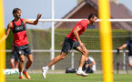 EVIAN-LES-BAINS, FRANCE - JULY 27: Manolo Gabbiadini(L) and Wesley Hoedt during Southampton FC's pre season training camp, on July 27, 2018 in Evian-les-Bains, France. (Photo by Matt Watson/Southampton FC via Getty Images)