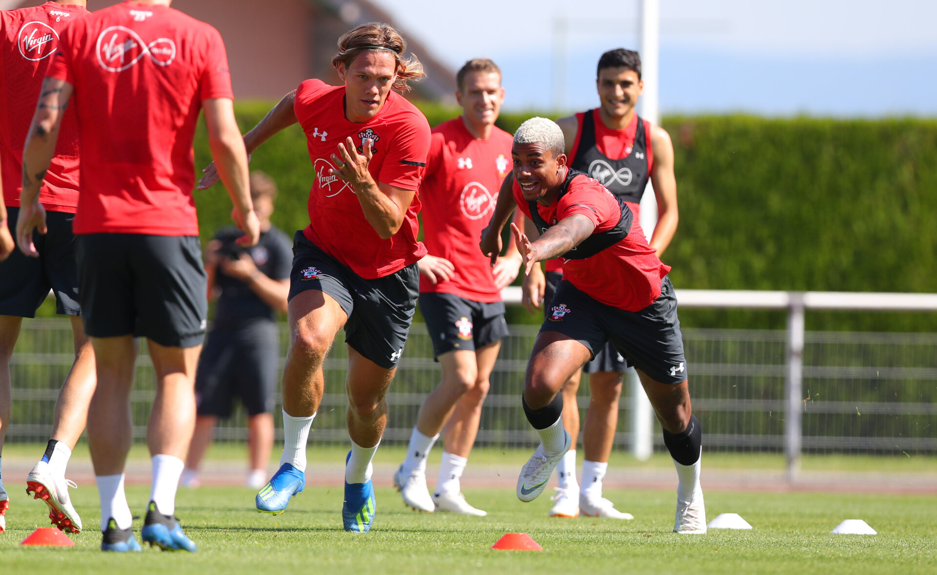 EVIAN-LES-BAINS, FRANCE - JULY 27: Jannik Vestergaard(L) and Mario Lemina during Southampton FC's pre season training camp, on July 27, 2018 in Evian-les-Bains, France. (Photo by Matt Watson/Southampton FC via Getty Images)