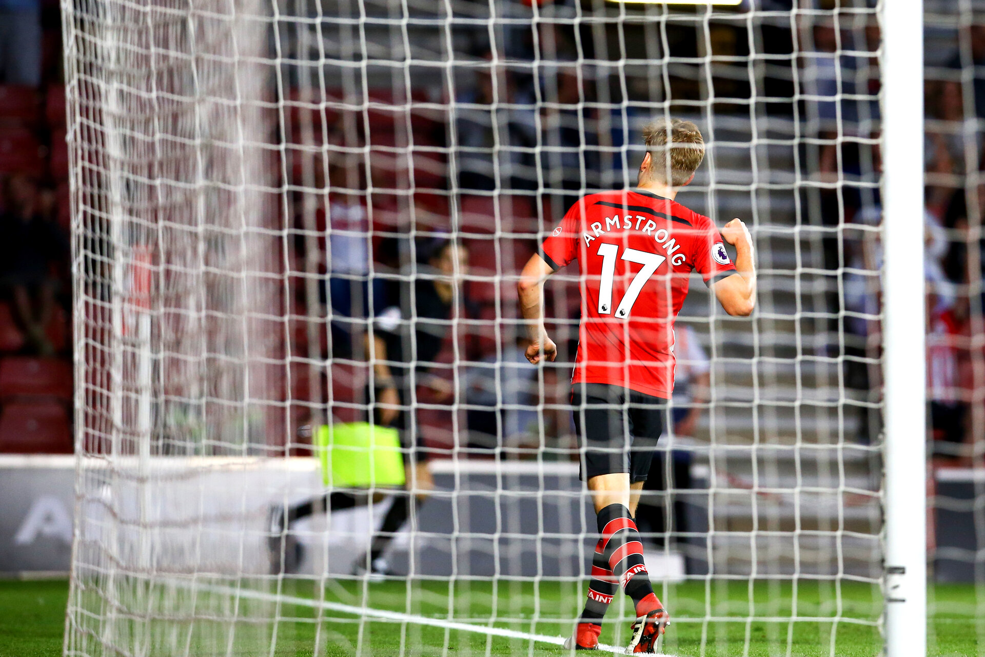 SOUTHAMPTON, ENGLAND - AUGUST 01: Stuart Armstrong scores for Southampton FC during the Pre-Season friendly match between Southampton FC and Celta Vigo pictured at St Mary's Stadium on August 1, 2018 in Southampton, England. (Photo by James Bridle - Southampton FC/Southampton FC via Getty Images)