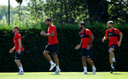 SOUTHAMPTON, ENGLAND - AUGUST 03: Harrison Reed, Jack Stephens, Charlie Austin, Josh Sims during a Southampton FC training session at Staplewood Complex on August 3, 2018 in Southampton, England. (Photo by James Bridle - Southampton FC/Southampton FC via Getty Images)