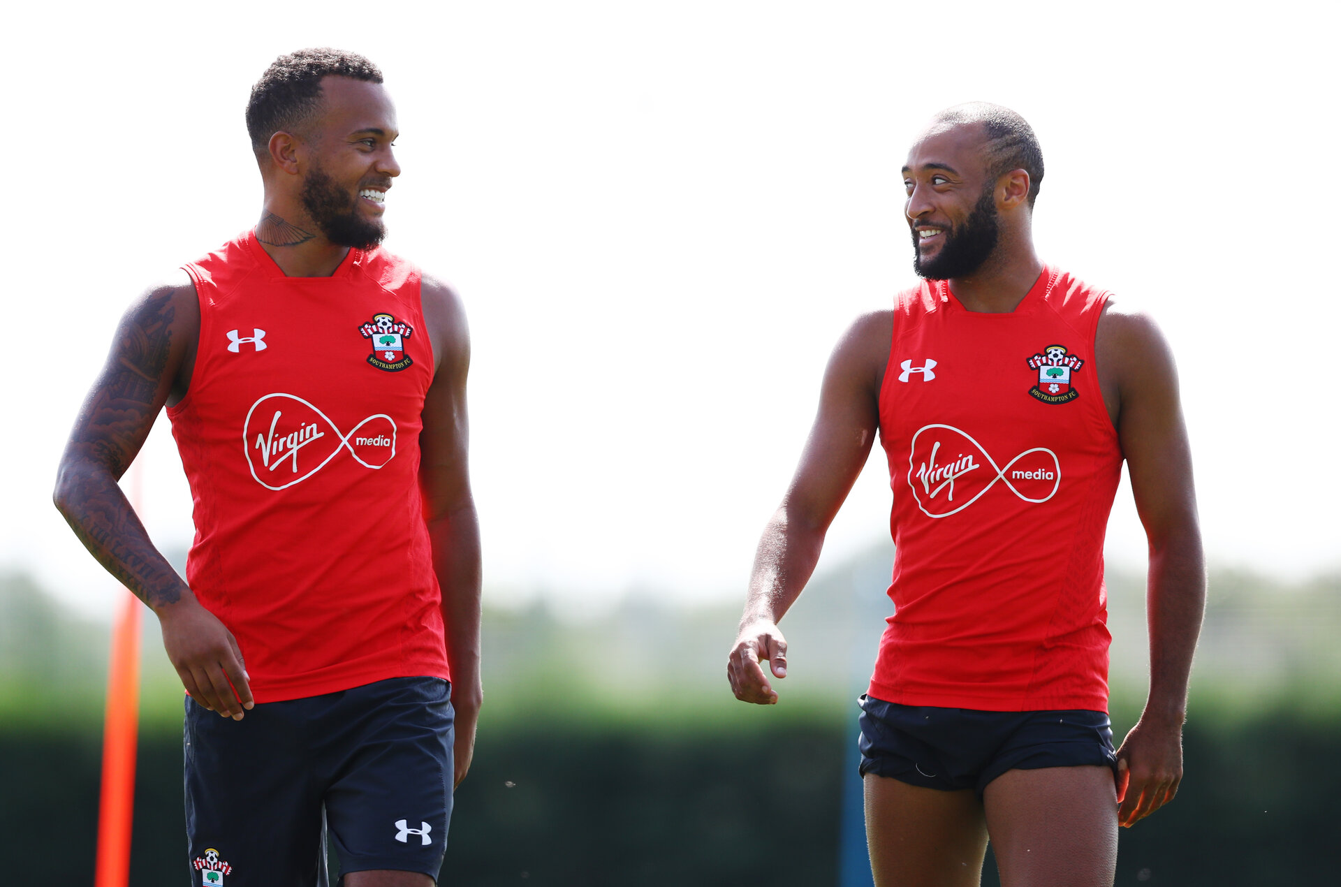 SOUTHAMPTON, ENGLAND - AUGUST 07: Ryan Bertrand(L) and Nathan Redmond during a Southampton FC training session at the Staplewood Campus on August 7, 2018 in Southampton, England. (Photo by Matt Watson/Southampton FC via Getty Images)