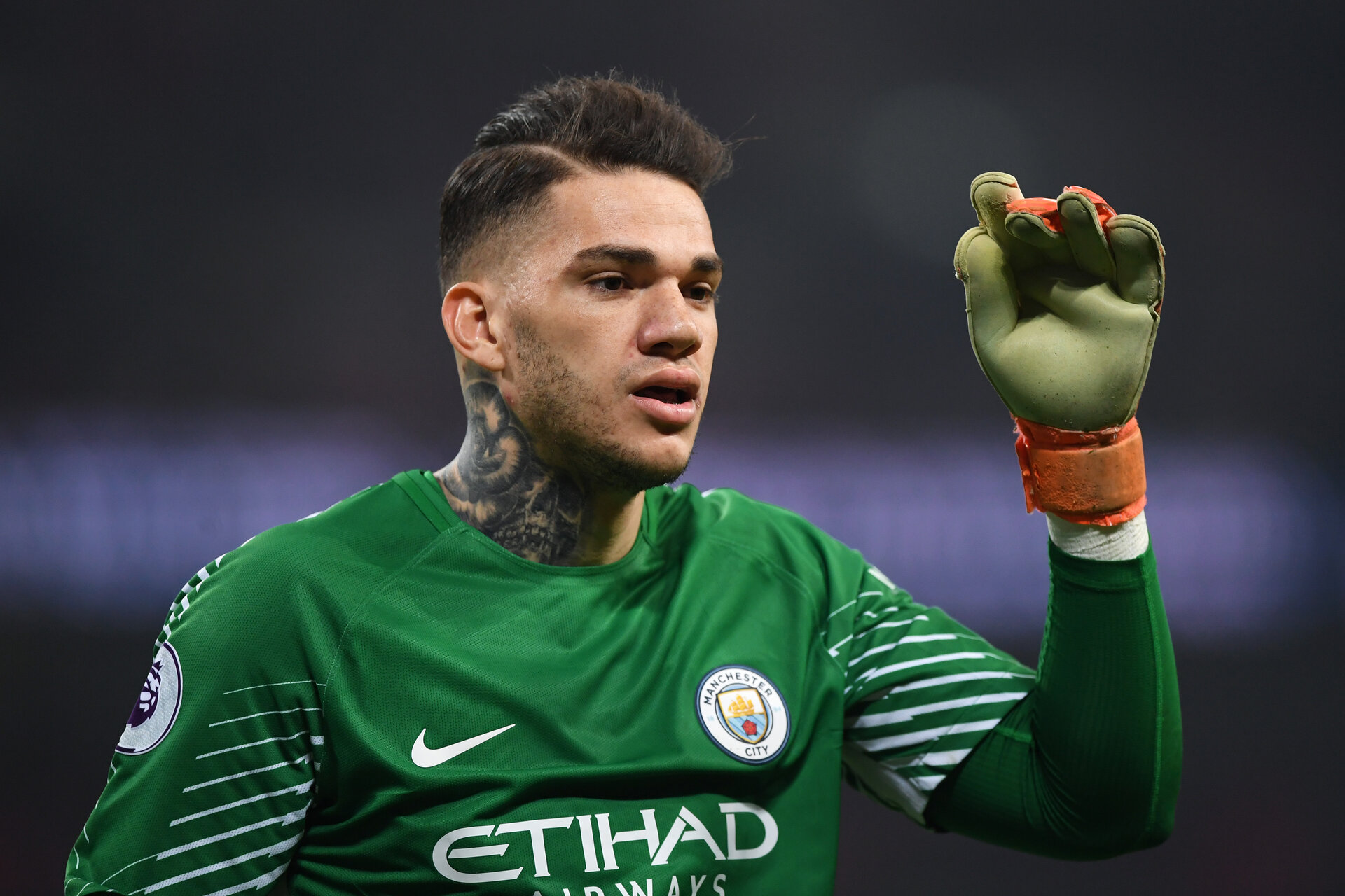 LONDON, ENGLAND - APRIL 14: Ederson of Manchester City looks on during the Premier League match between Tottenham Hotspur and Manchester City at Wembley Stadium on April 14, 2018 in London, England.  (Photo by Shaun Botterill/Getty Images)