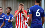 Dan Bartlett after a missed opportunity during an U18 match between Southampton FC and Chelsea, at the Staplewood Campus, Southampton, 11th August 2018
