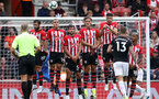 SOUTHAMPTON, ENGLAND - AUGUST 12: Southampton defend a free-kick during the Premier League match between Southampton FC and Burnley FC at St Mary's Stadium on August 12, 2018 in Southampton, United Kingdom. (Photo by Chris Moorhouse/Southampton FC via Getty Images)