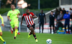 SOUTHAMPTON, ENGLAND - AUGUST 14: Michael Obafemi (middle) during the U23 International Cup match between Southampton FC vs Dinamo Zagreb pictured at Staplewood Complex on August 14, 2018 in Southampton, England. (Photo by James Bridle - Southampton FC/Southampton FC via Getty Images)