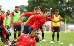 SOUTHAMPTON, ENGLAND - AUGUST 15:  James Morris (middle) pictured at Staplewood Complex on August 15, 2018 in Southampton, England. (Photo by James Bridle - Southampton FC/Southampton FC via Getty Images)